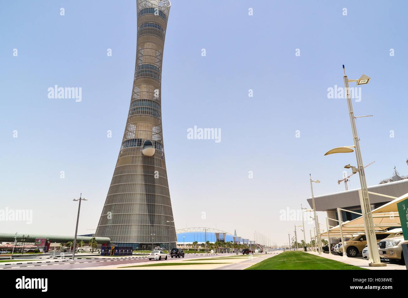 La Torcia Doha (Aspire torre), la piu' alta struttura in Qatar Immagini Stock