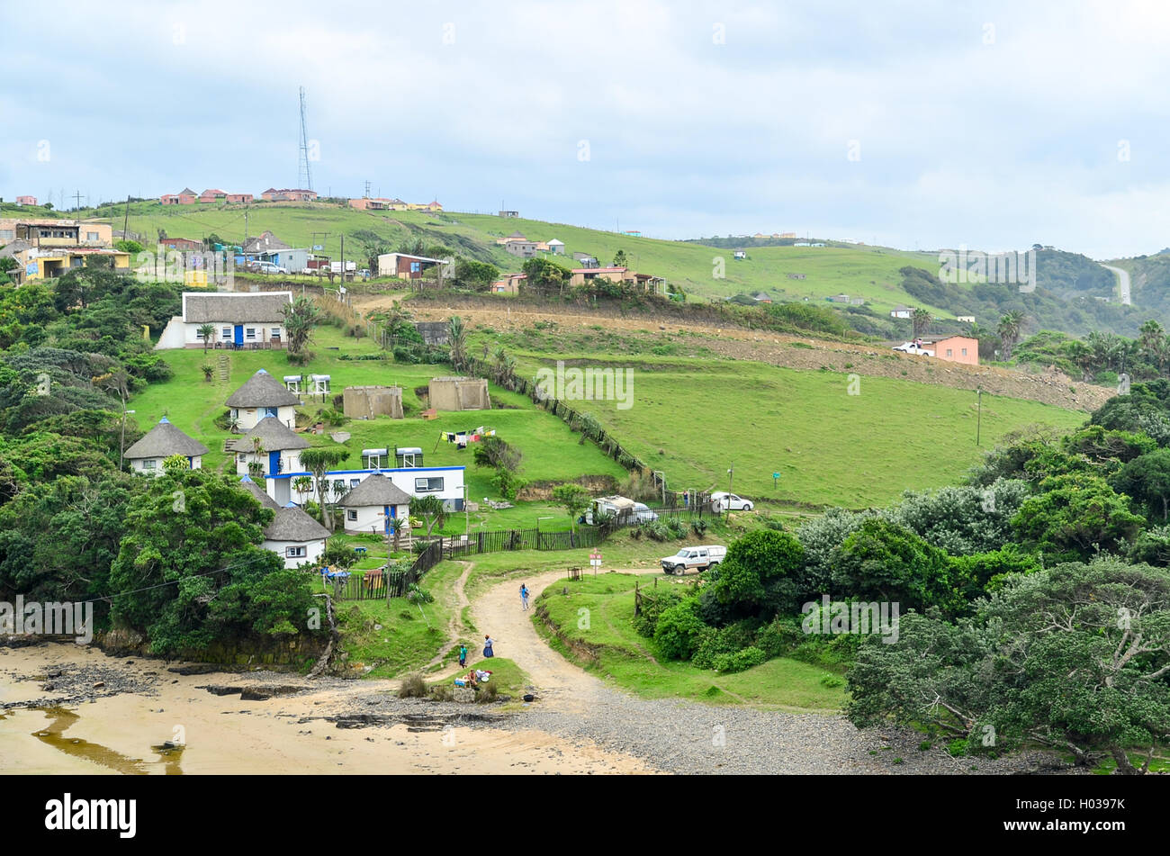 Il paesaggio di Capo orientale vicino alla baia di caffè, Sud Africa Immagini Stock