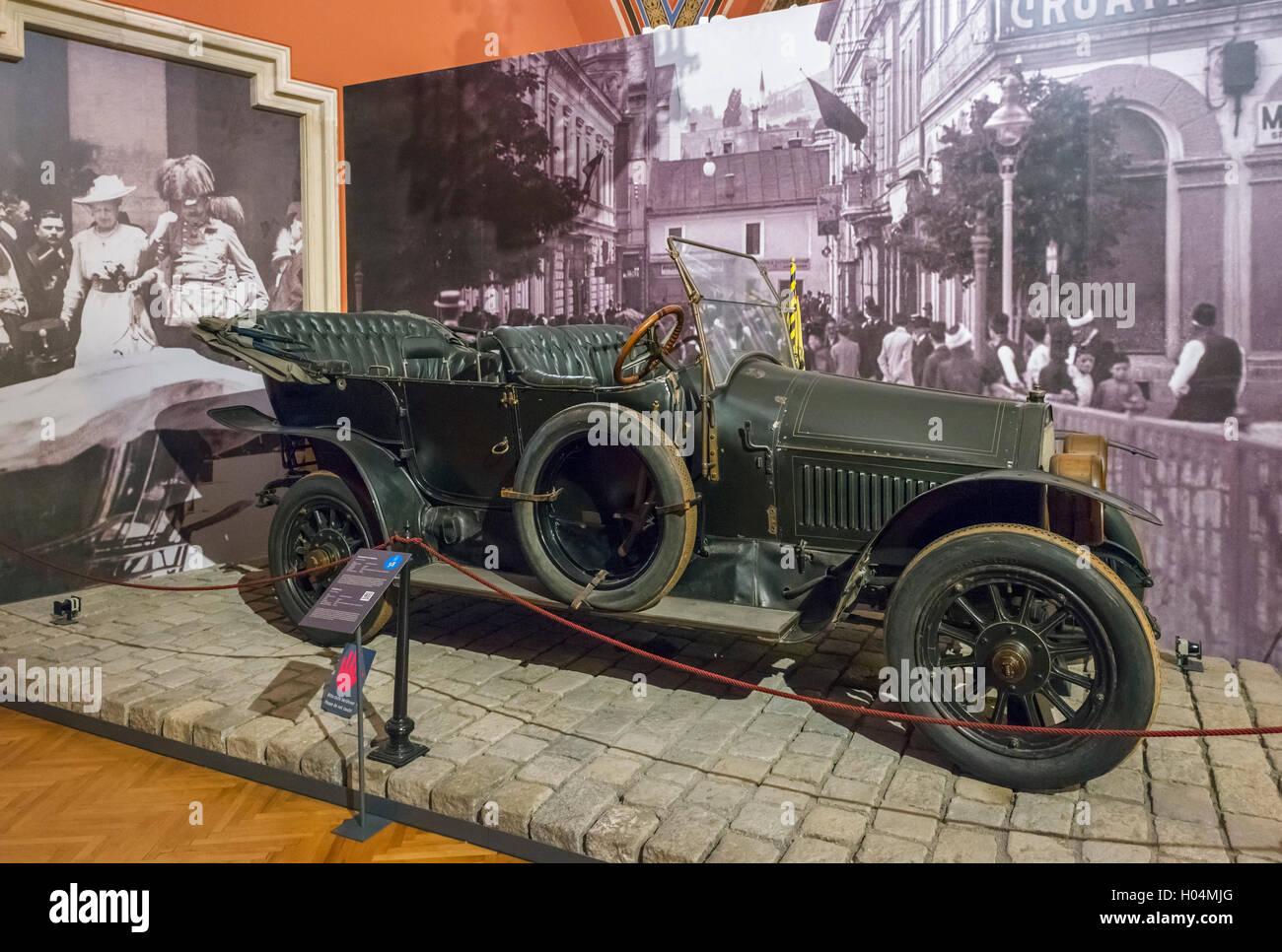 Auto in cui arciduca Francesco Ferdinando era in viaggio quando è stato assassinato da Gabriel Princip a Sarajevo Immagini Stock