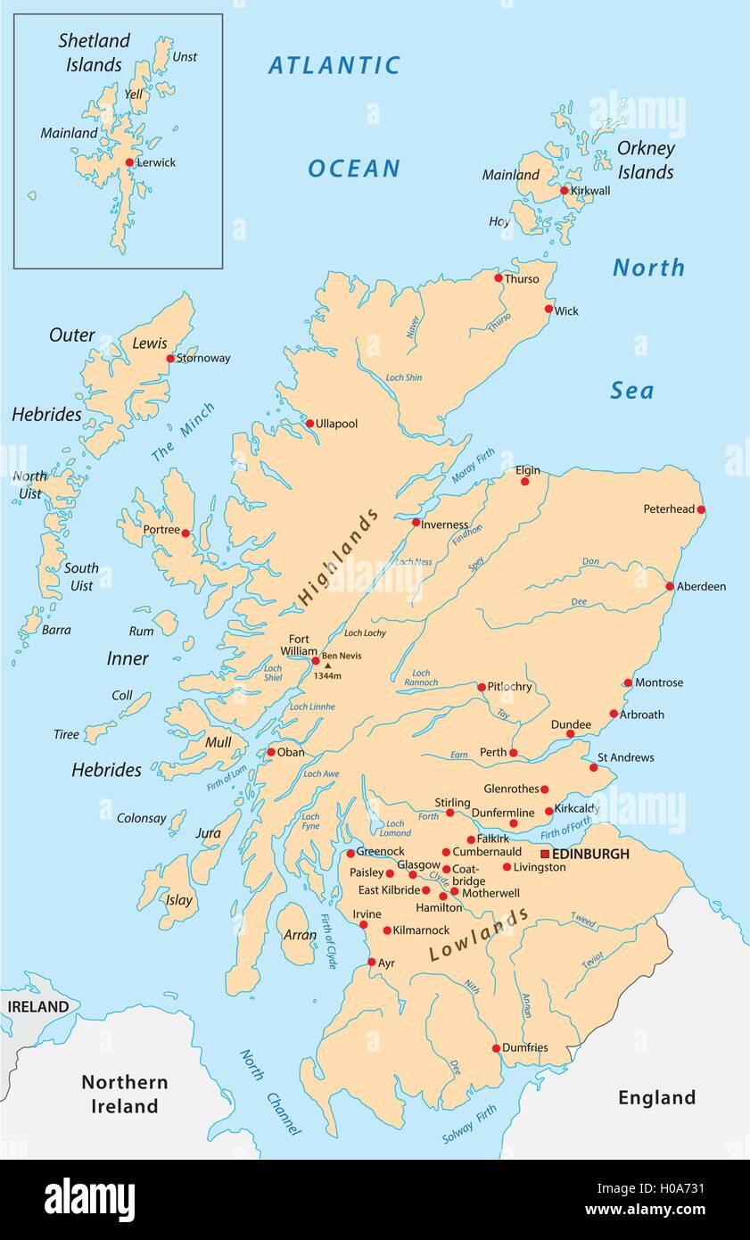 Scozia Cartina Dettagliata.Mappa Di Scozia Immagine E Vettoriale Alamy