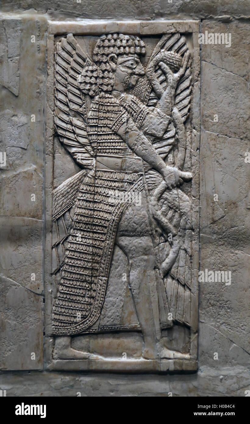 Schienale. L'avorio. Nimrud (antica Kalhu). Mesopotamia. ca. Viii secolo A.C. Immagini Stock