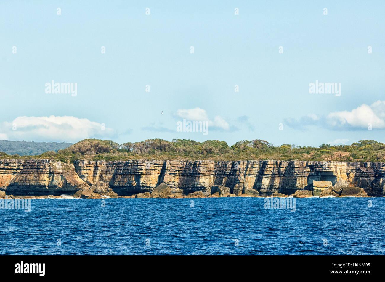 Vista panoramica di scogliere a Jervis Bay, Nuovo Galles del Sud, NSW, Australia Immagini Stock
