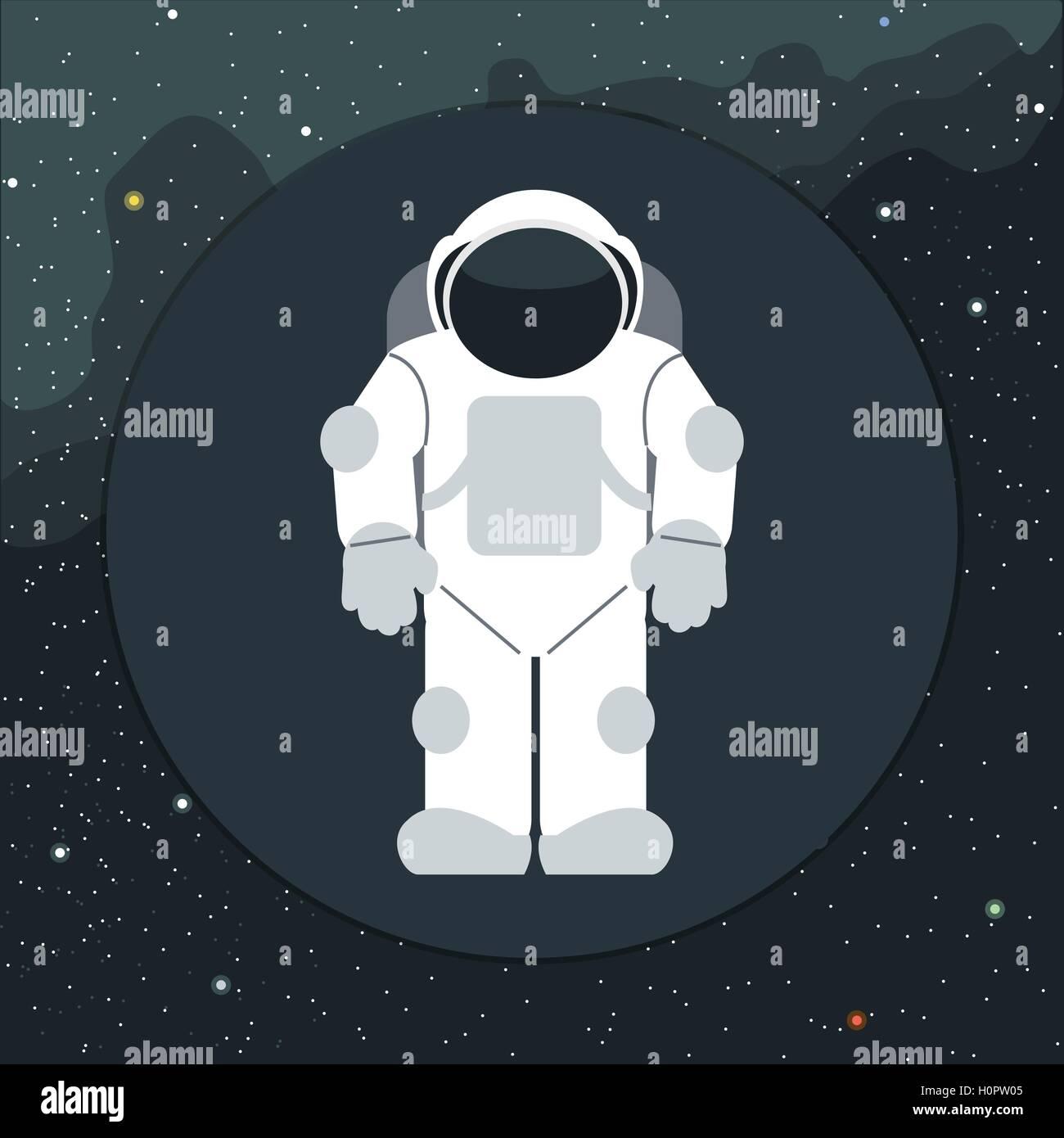 Vettore digitale con astronauta nello spazio icona su sfondo con