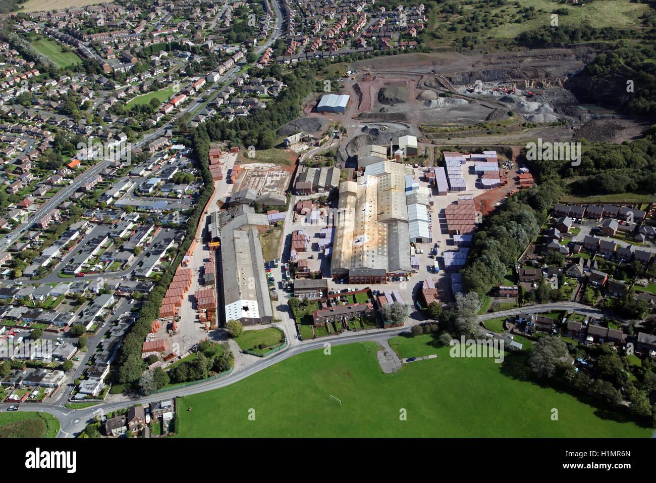 Vista aerea del Ibstock mattone Ravenhead fabbrica a Skelmersdale, Lancashire, Regno Unito Immagini Stock