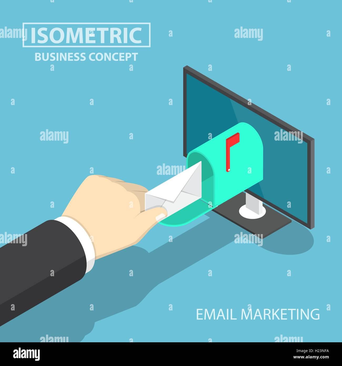Imprenditore isometrica mano come ottenere il recapito dei messaggi di posta provenienti dal monitor, email marketing Immagini Stock