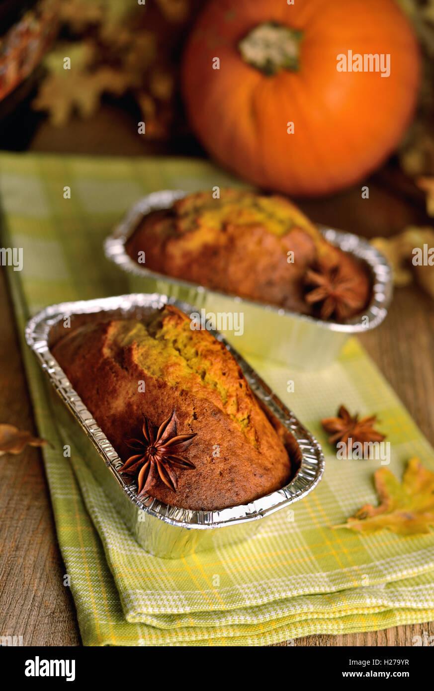 Una casa dolce cotto al forno di segale pane di zucca Immagini Stock