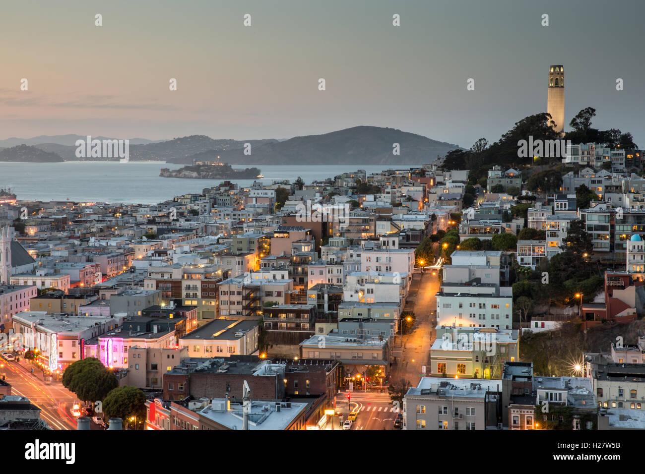 San Francisco in blu e oro Foto Stock