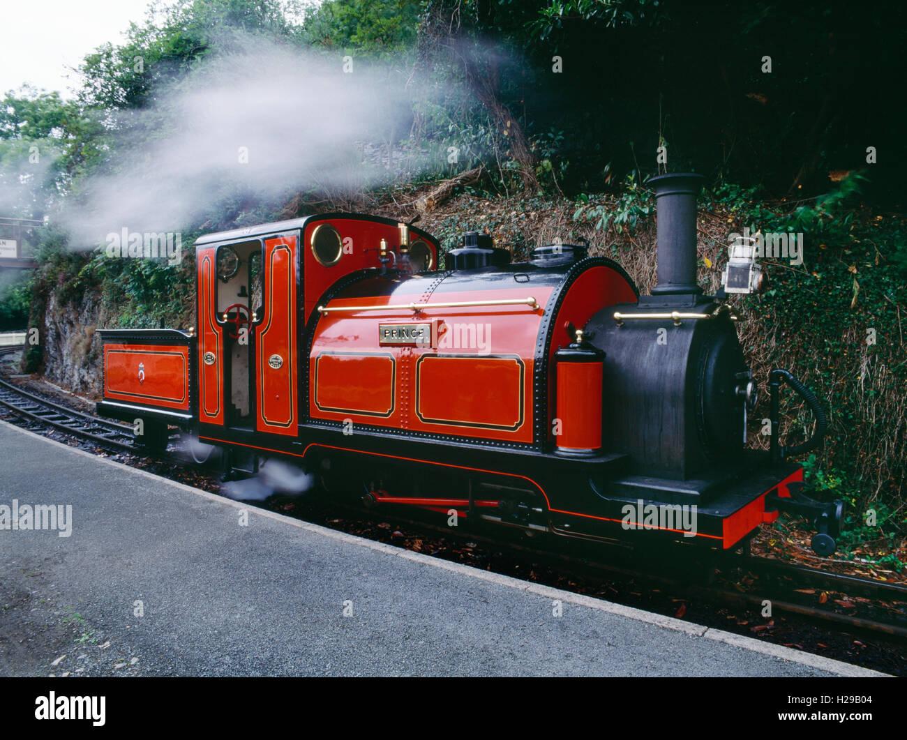 Il principe vintage motore a vapore a Tan-y-Bwlch stazione sul Ffestiniog linea a scartamento ridotto, Snowdonia, Immagini Stock