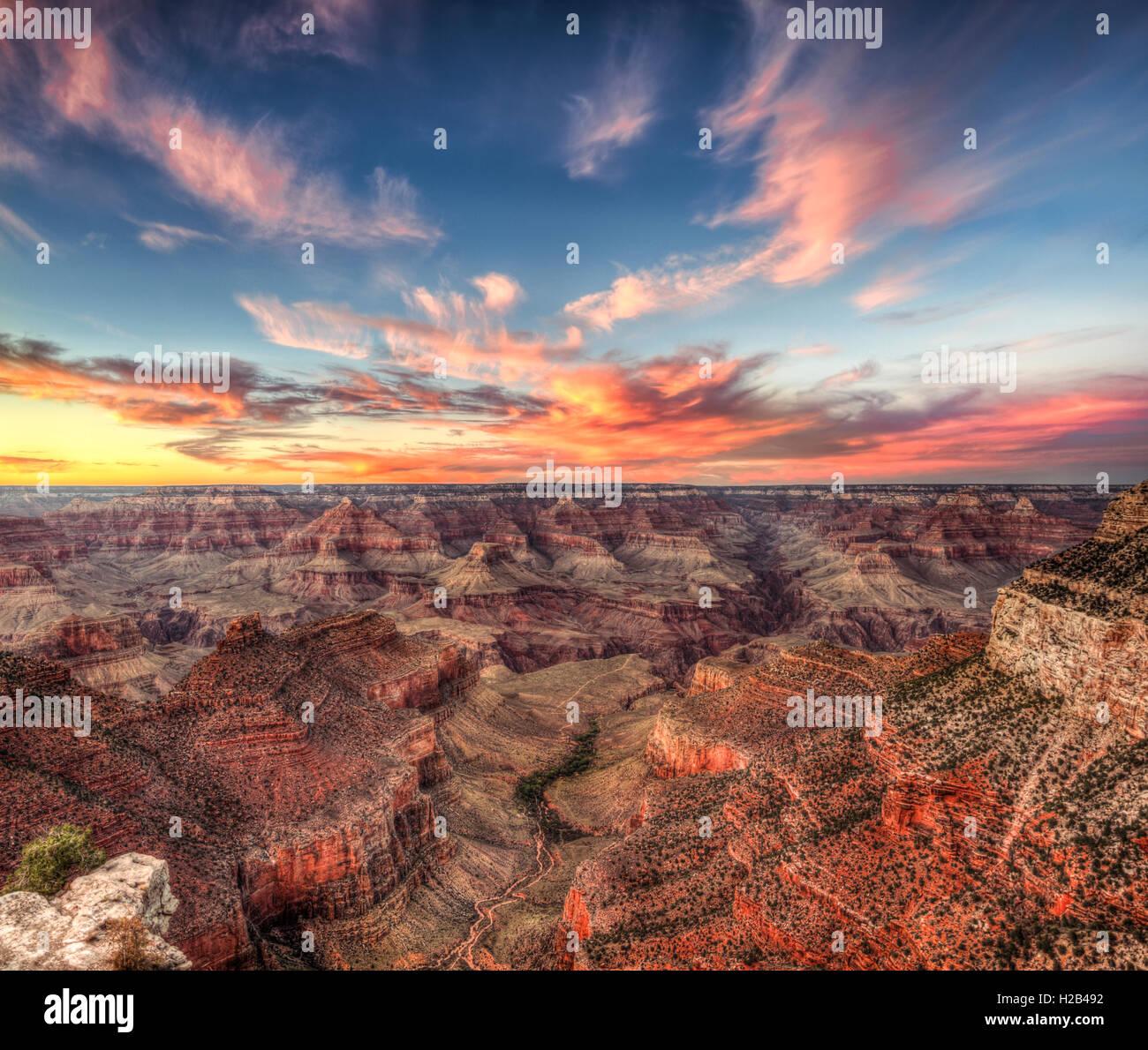 Tramonto sul Grand Canyon, il Parco Nazionale del Grand Canyon, South Rim, Arizona, Stati Uniti d'America Immagini Stock