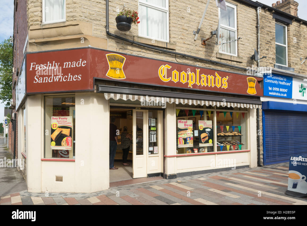 Cooplands panetteria e sandwich shop, Goldthorpe, South Yorkshire Immagini Stock