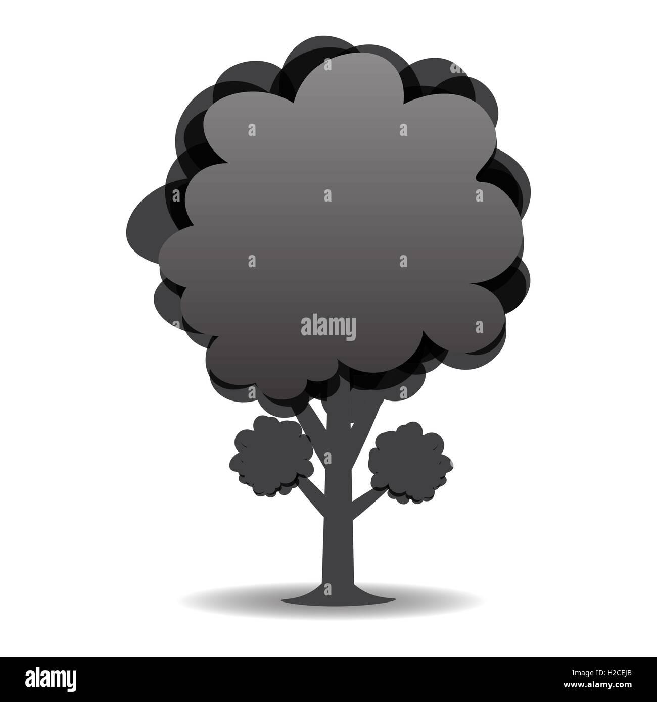 Un Disegno Stilizzato Di Un Albero In Bianco E Nero Di Design