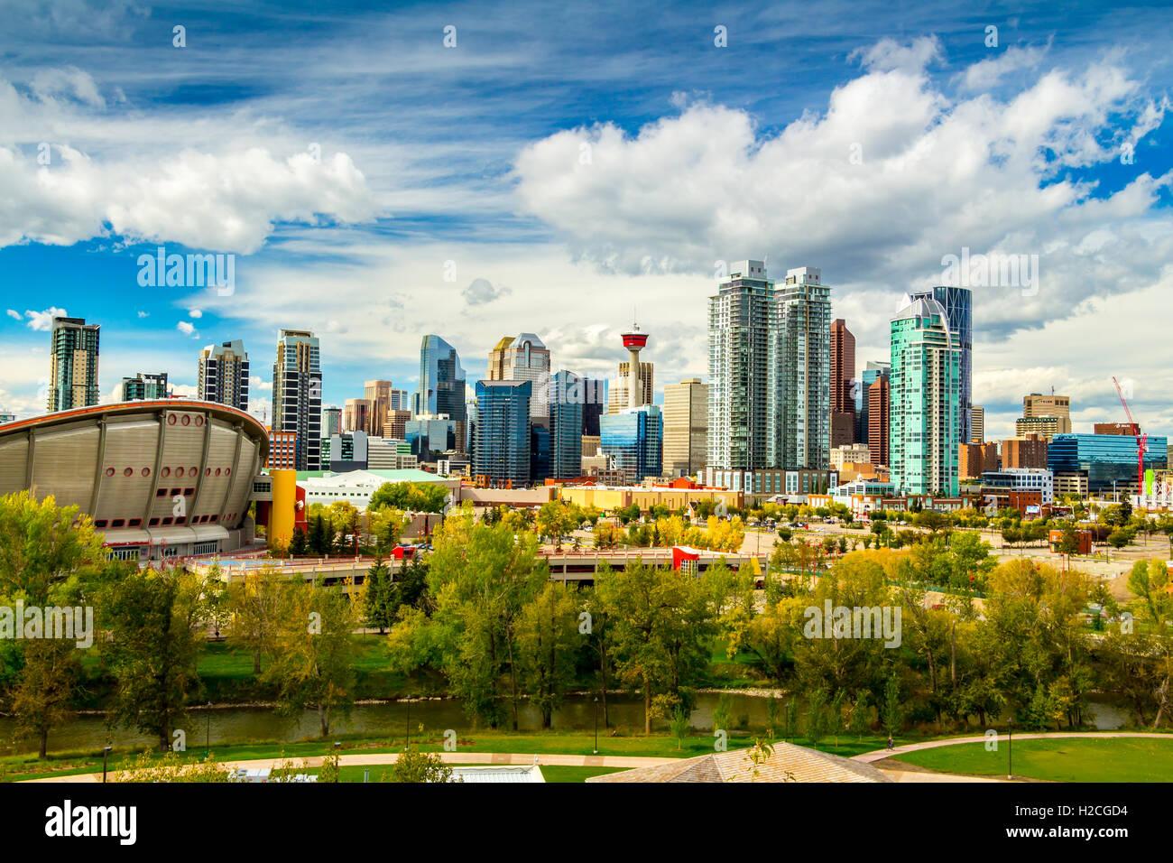 Calgary Skyline caduta stagione Immagini Stock