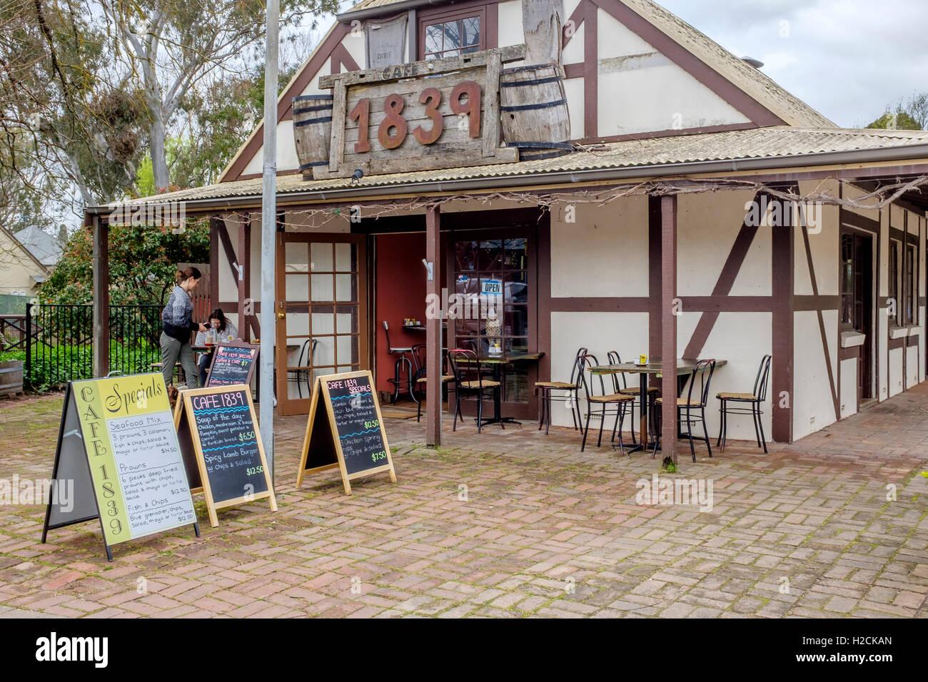 1839 café & restaurant di Hahndorf, in Sud Australia le pittoresche colline di Adelaide. Immagini Stock