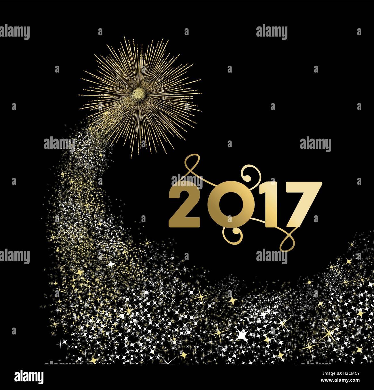Felice Anno Nuovo 2017 Oro Disegno Con Fuochi Dartificio Esplosione