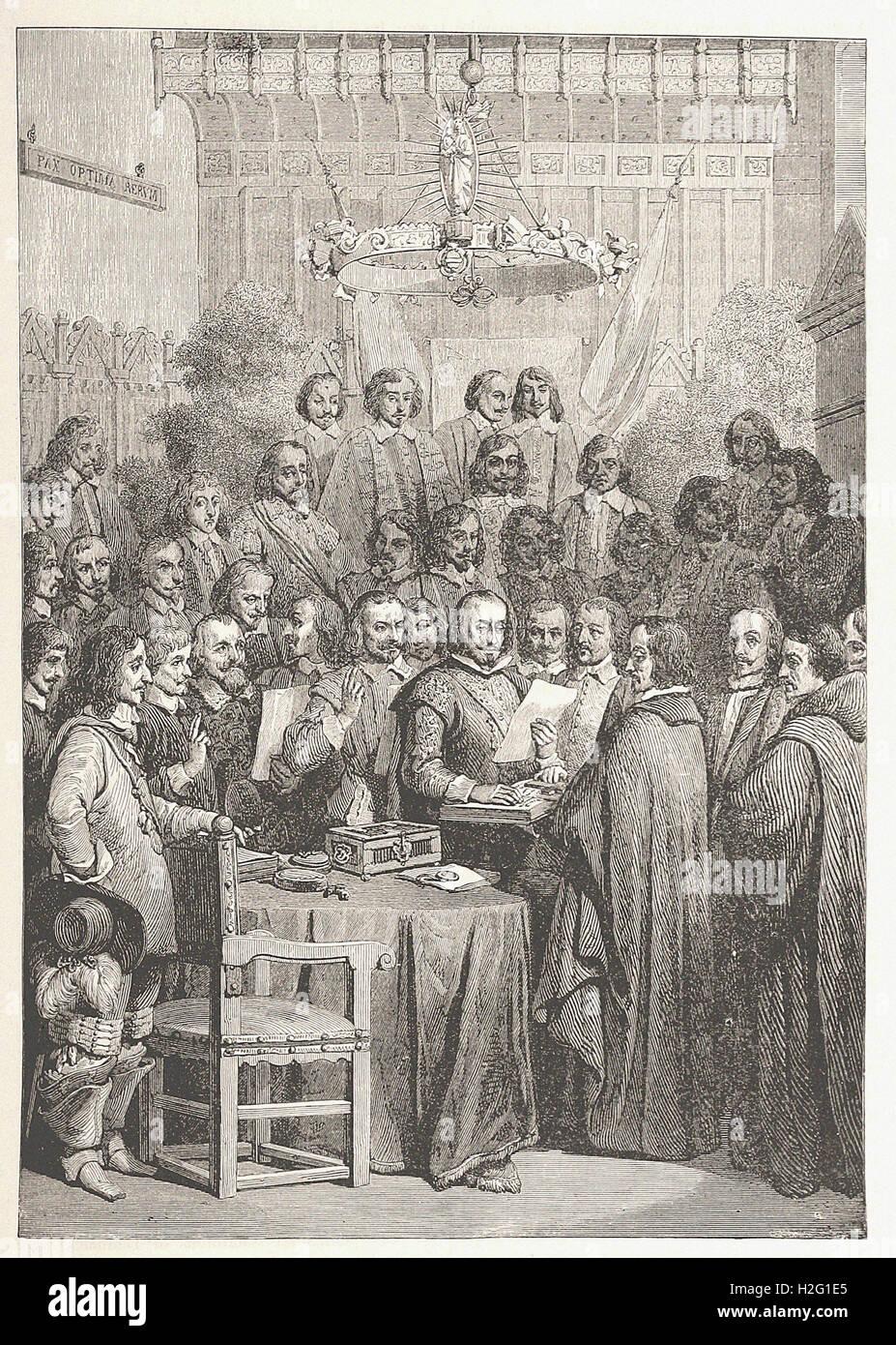 """Firma del Trattato di Westfalia OK. - Dalla 'Cassell illustrato della storia universale"""" - 1882 Immagini Stock"""