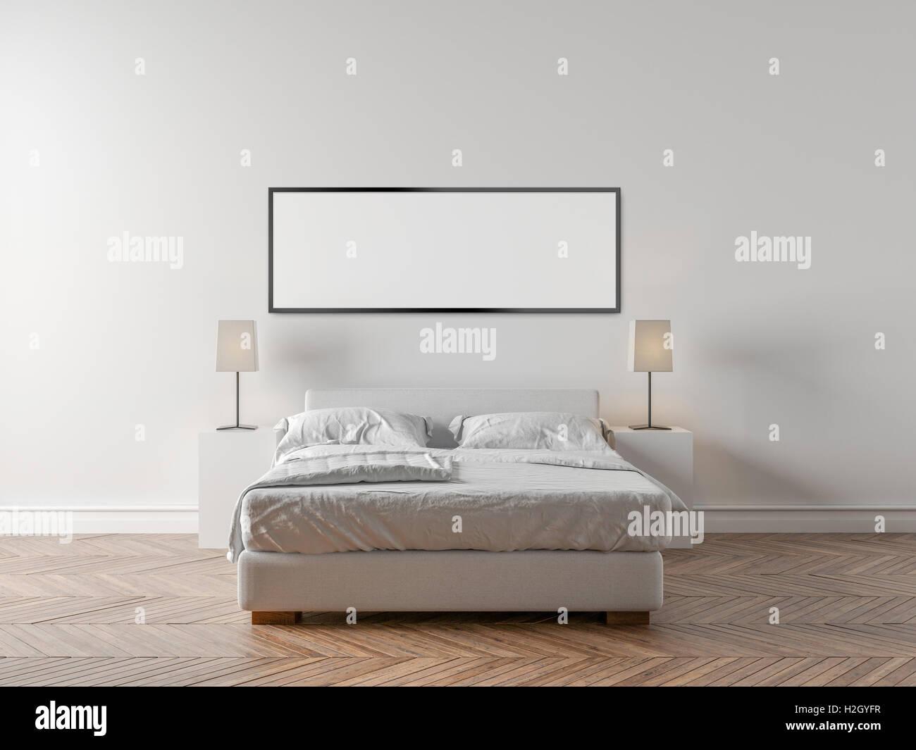 Letto Matrimoniale A Muro.Camera Da Letto Armadio E Un Letto Matrimoniale Grande Muro Bianco