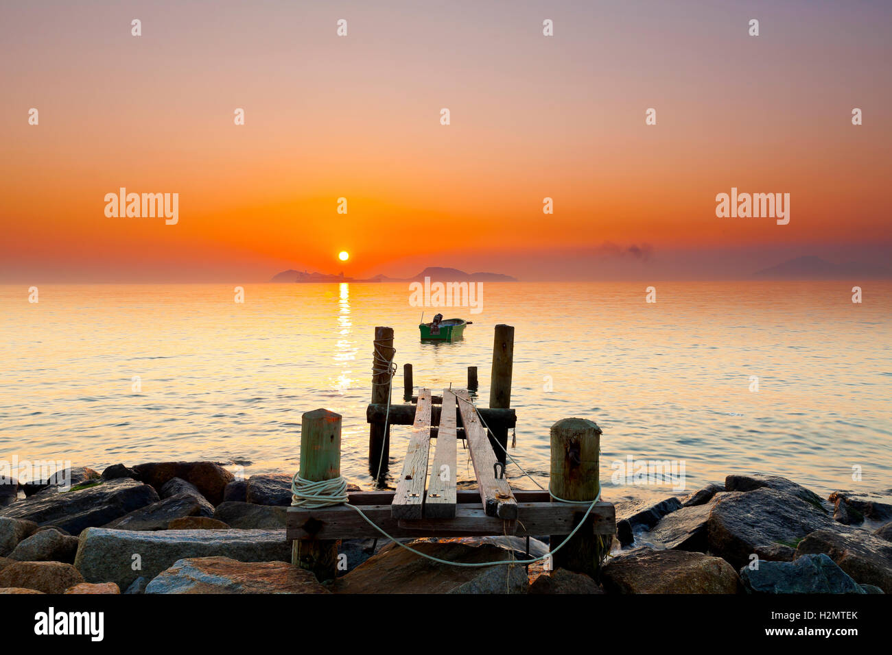 Pontile tramonto Immagini Stock