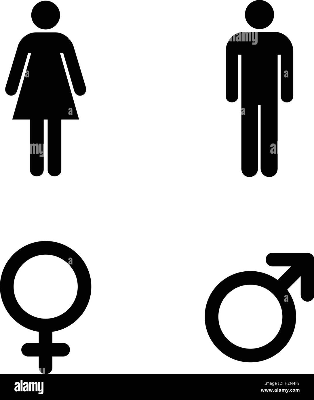 Restroom Sign Un Uomo E Una Donna Wc Segno Persone Icona