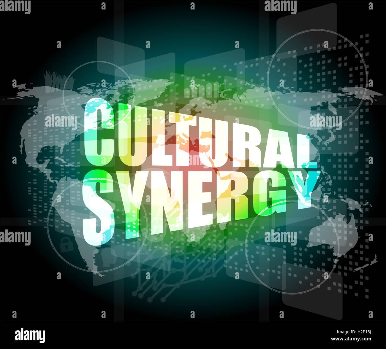 Sinergia culturale parole su display digitale con mappa del mondo Immagini Stock