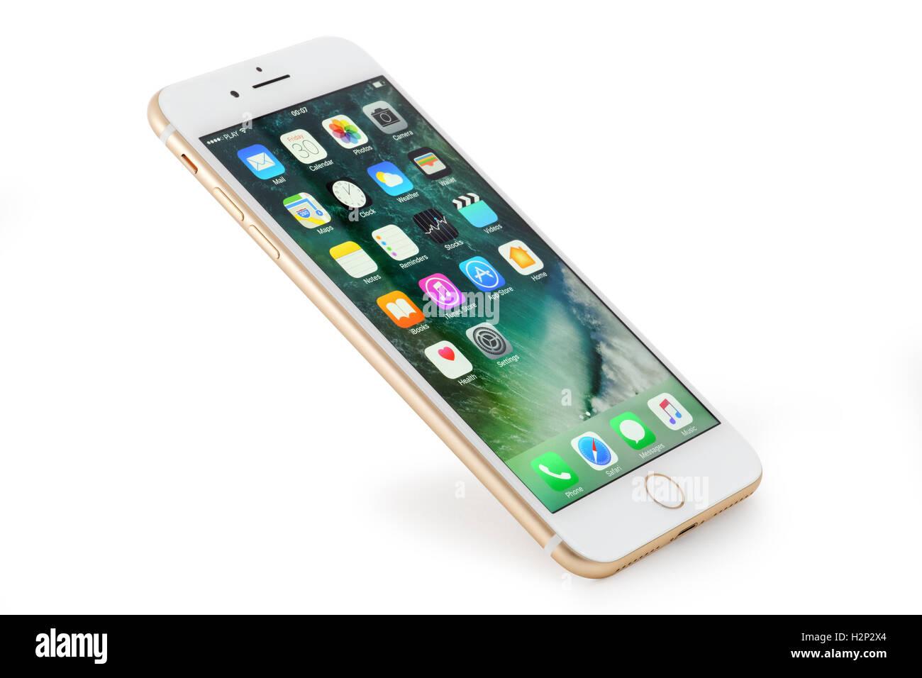 Golden Iphone 7 Plus Su Sfondo Bianco Foto Immagine Stock