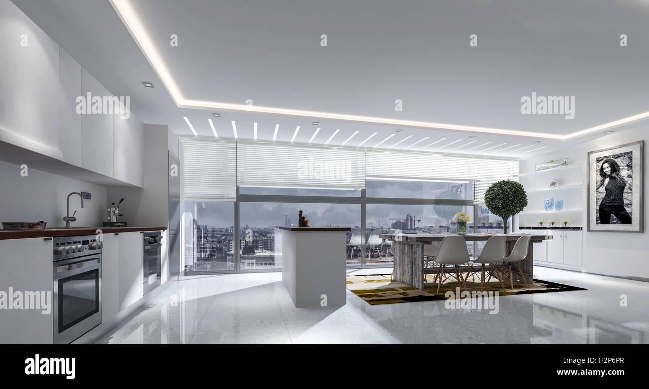 3d rendering di grande cucina e tavolo con persiane delle finestre
