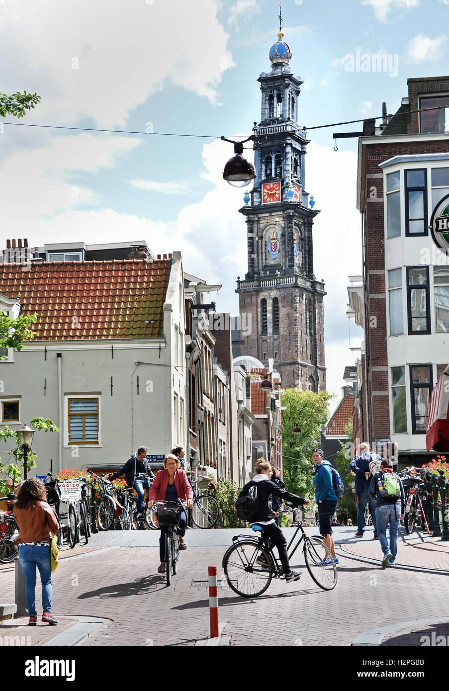 Eerste Leliedwarsstraat - Westerkerk Jordaan Amsterdam Paesi Bassi Immagini Stock