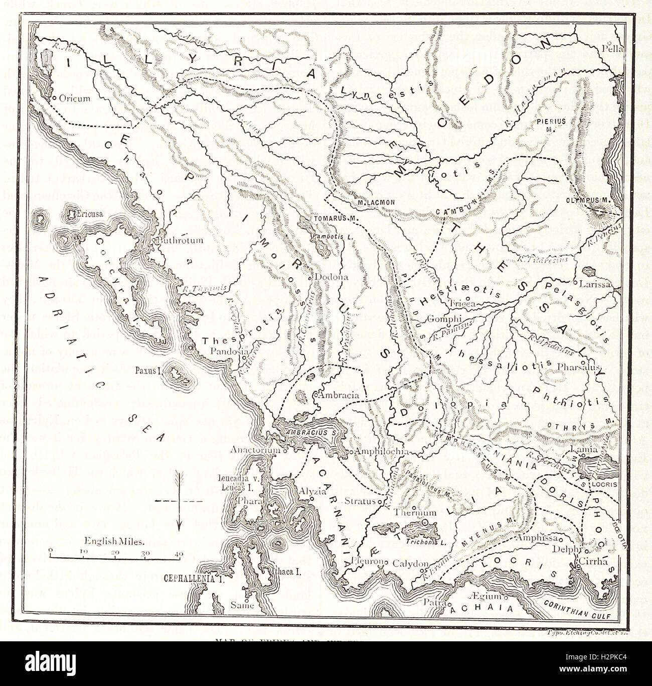"""Mappa di Epiro e della Grecia occidentale. - Dalla 'Cassell illustrato della storia universale"""" - 1882 Immagini Stock"""