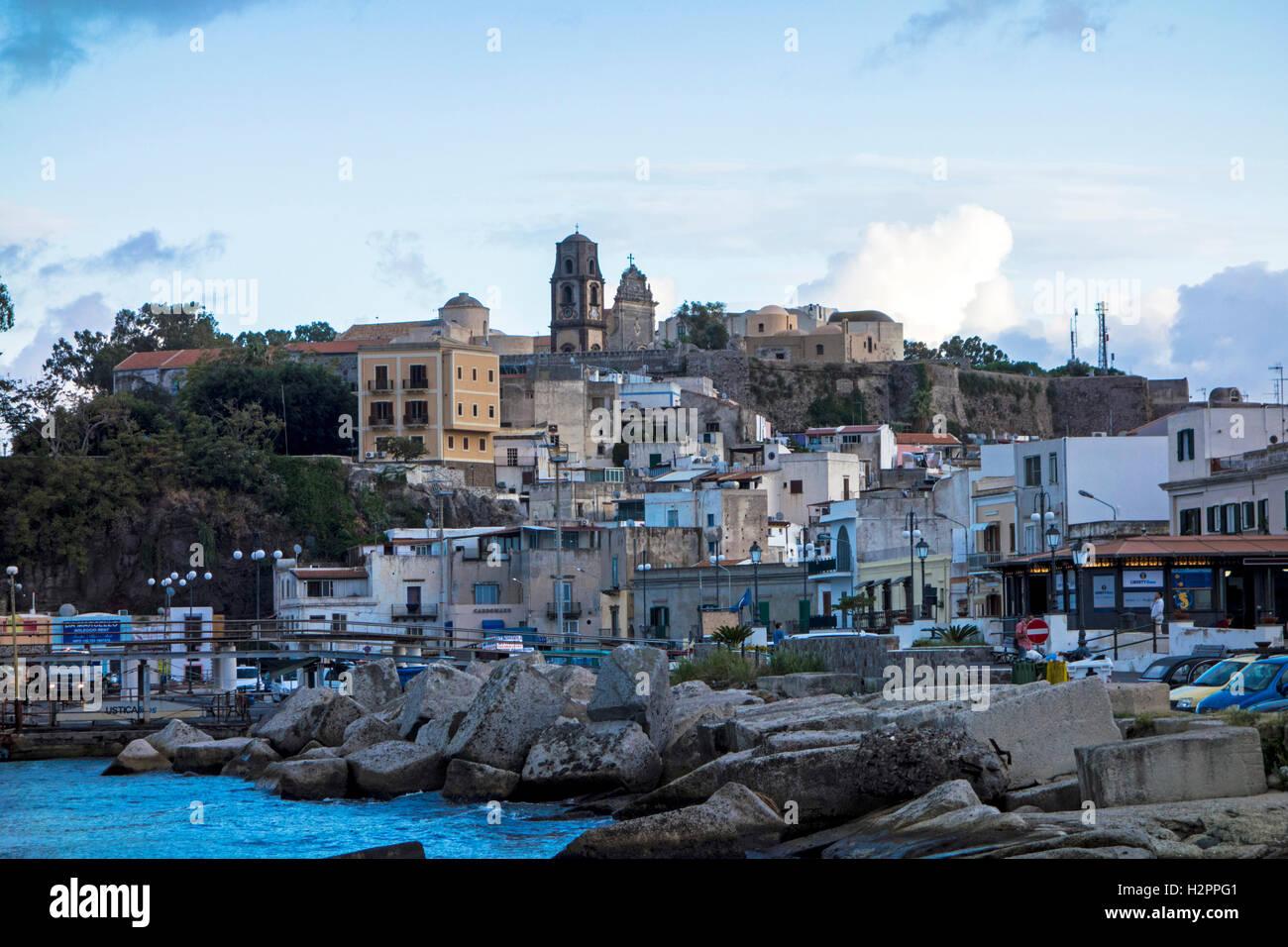 Città di Lipari, Sicilia Immagini Stock