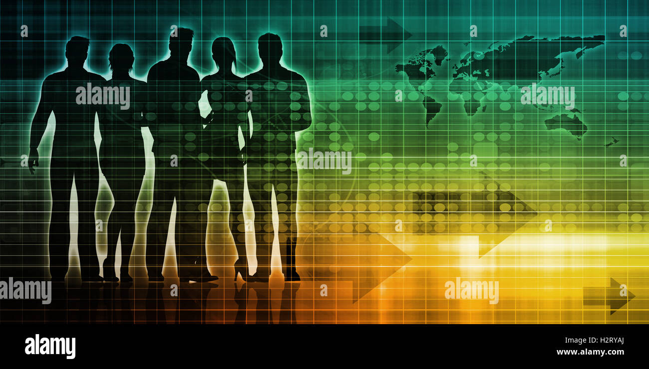 Crowdsourcing o una folla di sourcing arte tecnologia Immagini Stock