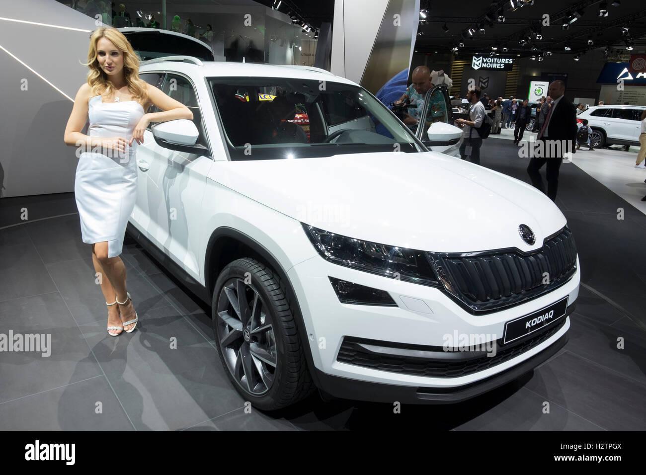 Premiere mondiale della Skoda Kodiaq SUV al Paris Motor Show 2016 Immagini Stock
