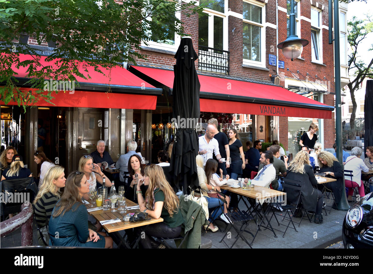 Il ristorante francese Brasserie Van Dam Cornelis Schuytstraat Oud Zuid olandese di Amsterdam Paesi Bassi Foto Stock
