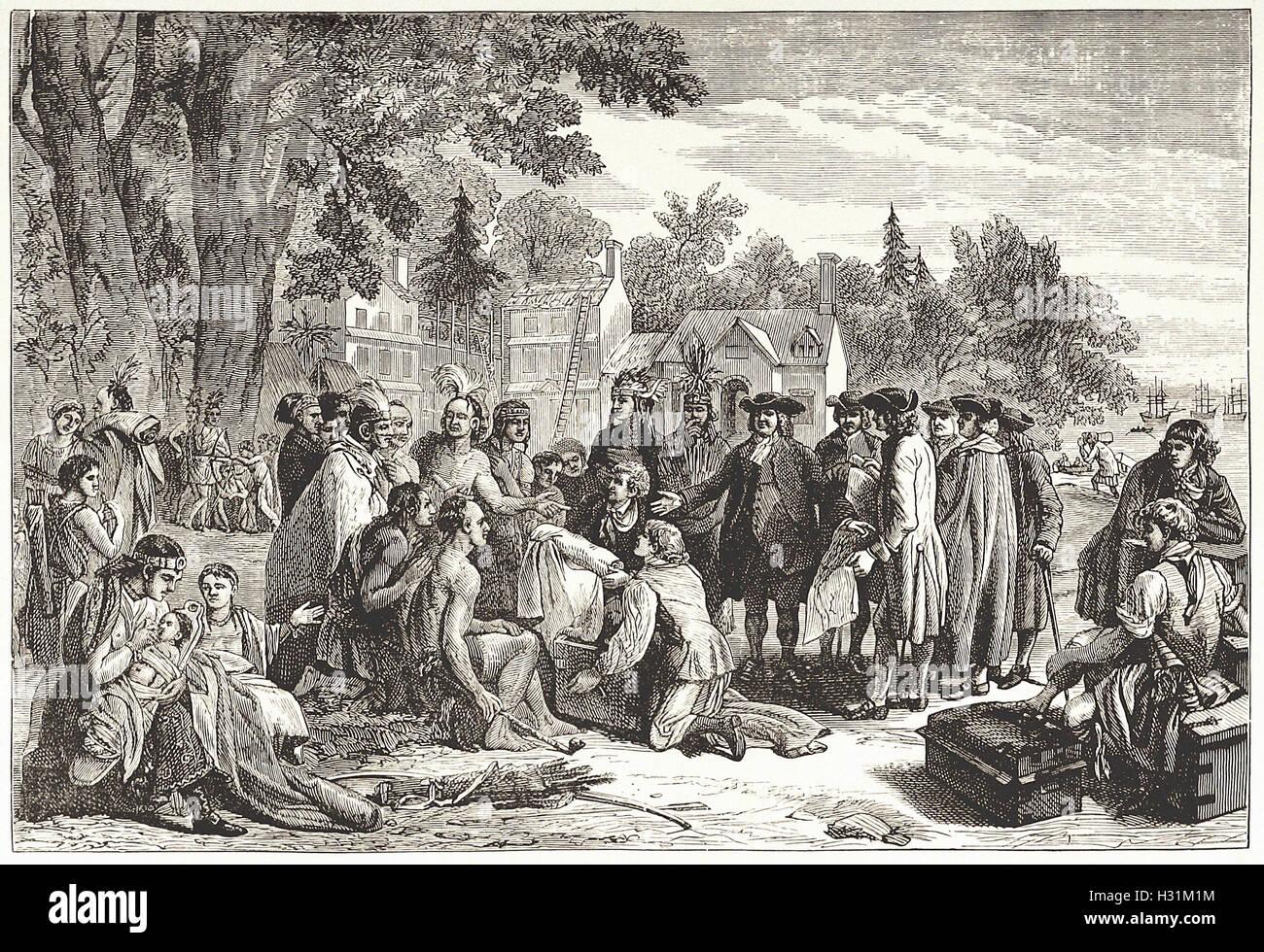 """PENN trattato con gli indiani. - Dalla 'Cassell illustrato della storia universale"""" - 1882 Immagini Stock"""