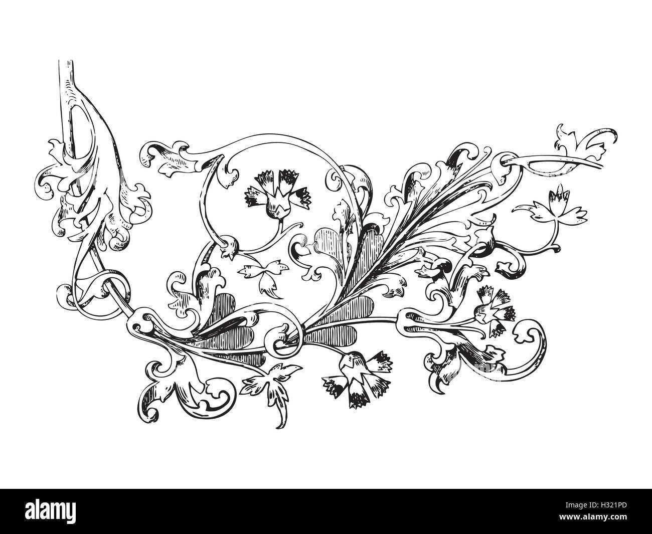 Disegnata A Mano Illustrazione Di Ramoscello Con Fiori E Foglie