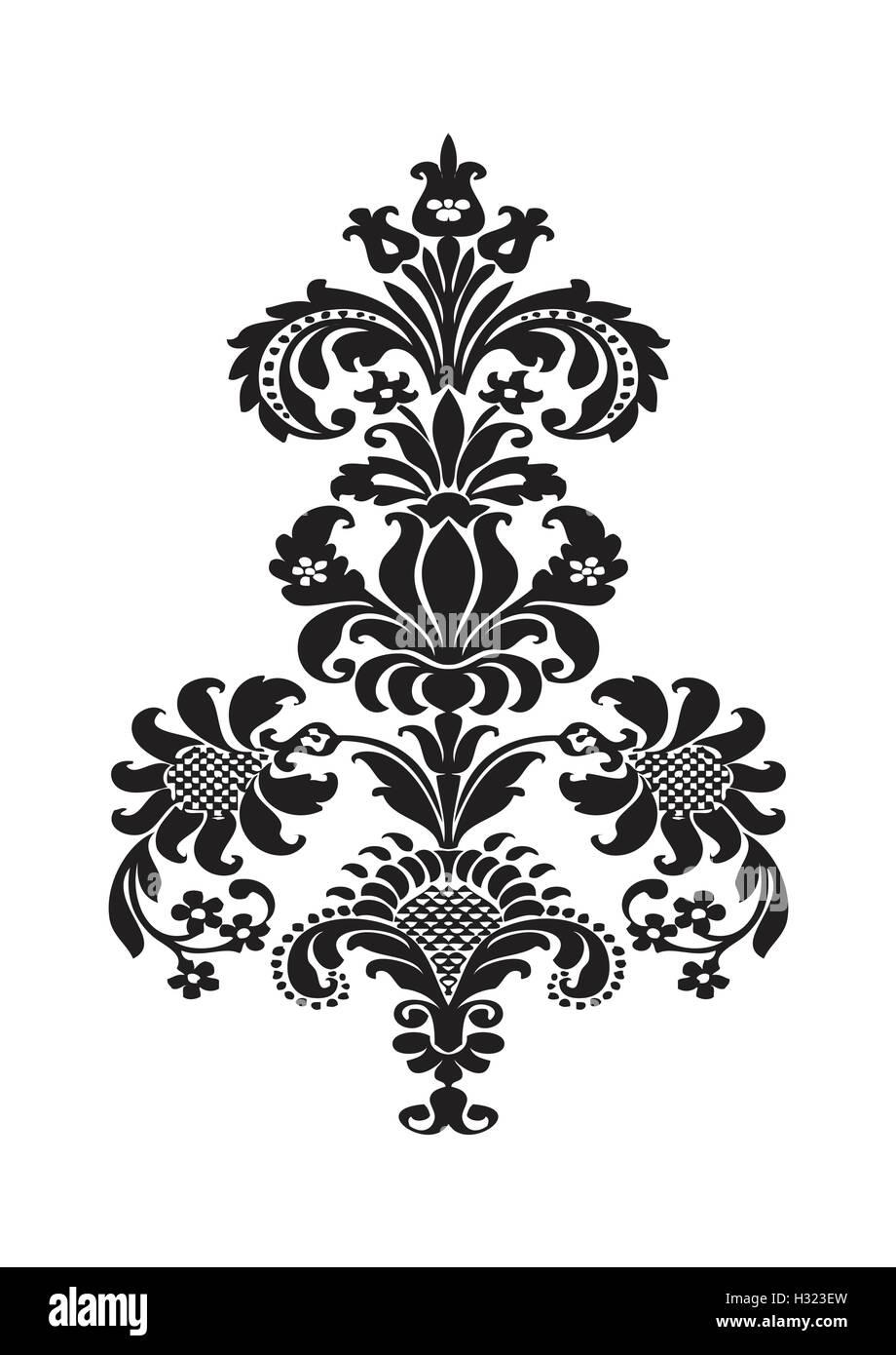 Vector Disegno Floreale Stilizzato Elemento Con Fiore Nero E