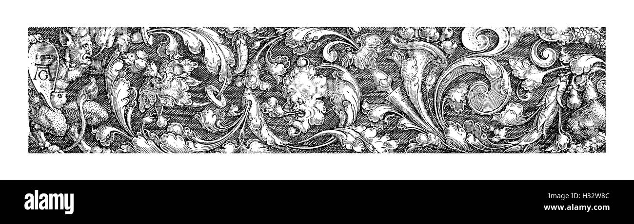 Rinascimento tedesco , Tipografia decorativo da Heinrich Aldegrever (1502-1555), l'incisione Immagini Stock
