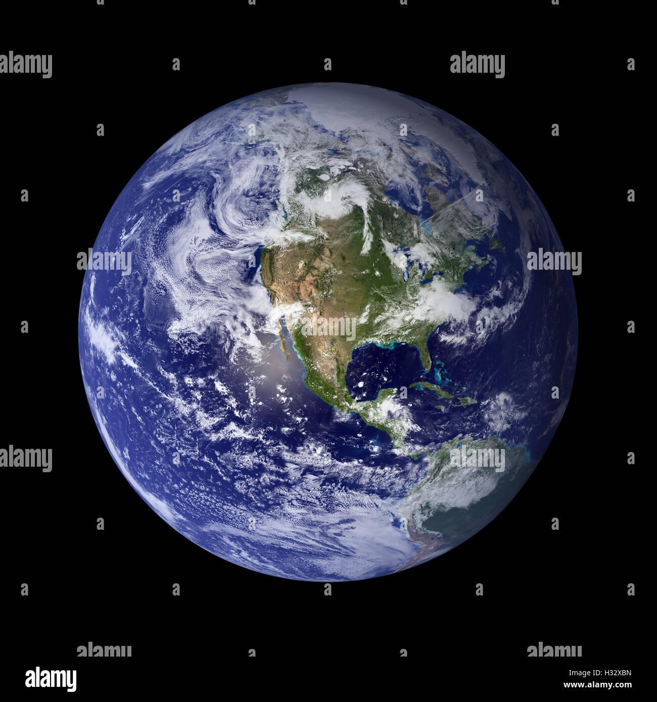 Sistema solare - Terra. Pianeta isolato su sfondo nero. Immagini Stock