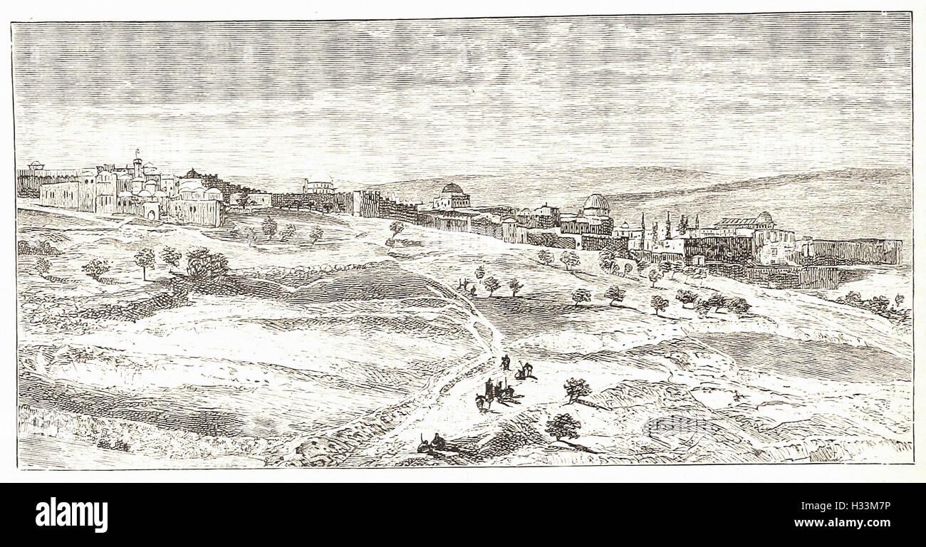 """Gerusalemme, dal colle del male COUNSEL - da 'Cassell illustrato della storia universale"""" - 1882 Immagini Stock"""