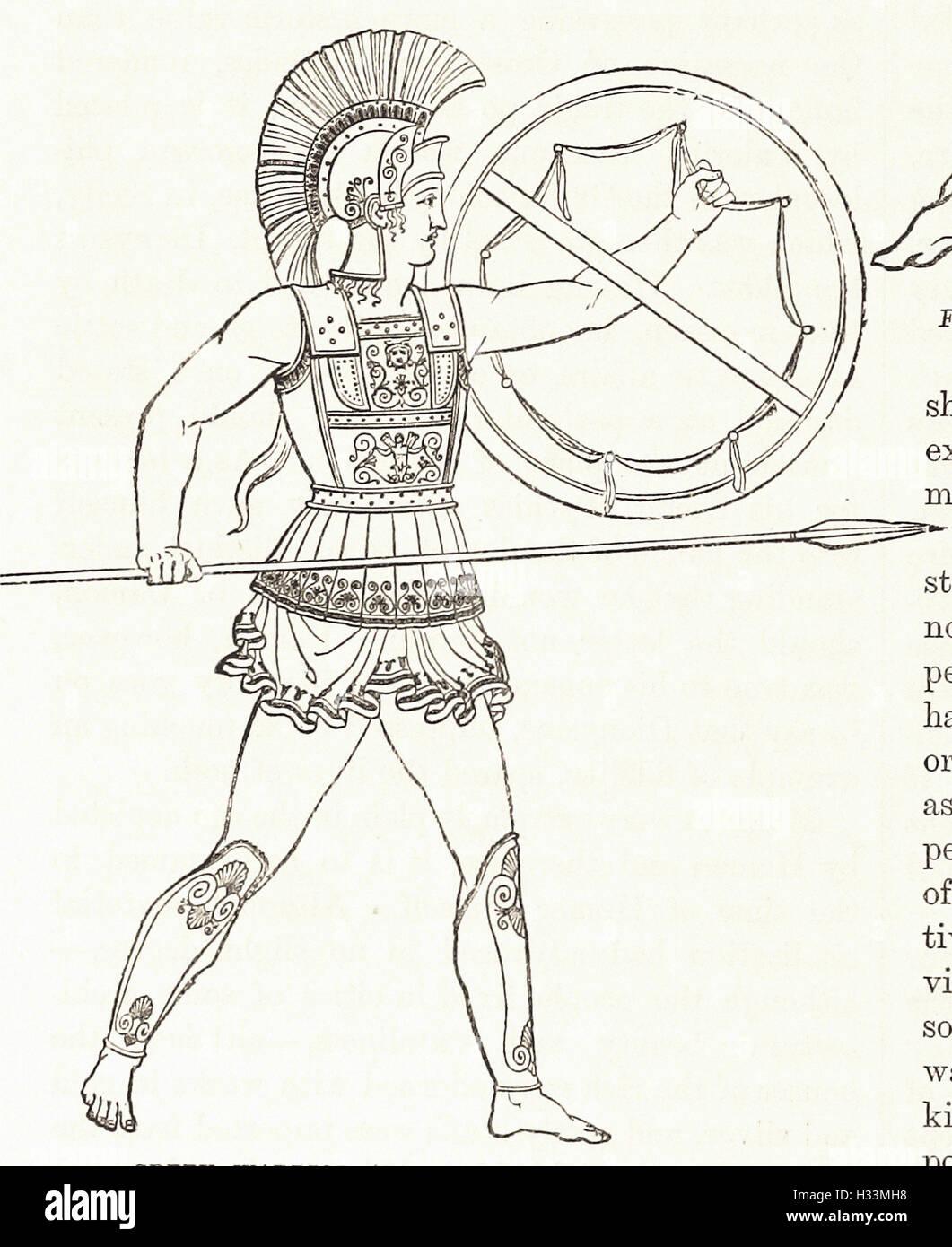 """Il guerriero greco armati di lancia e di scudo - da 'Cassell illustrato della storia universale"""" - 1882 Immagini Stock"""