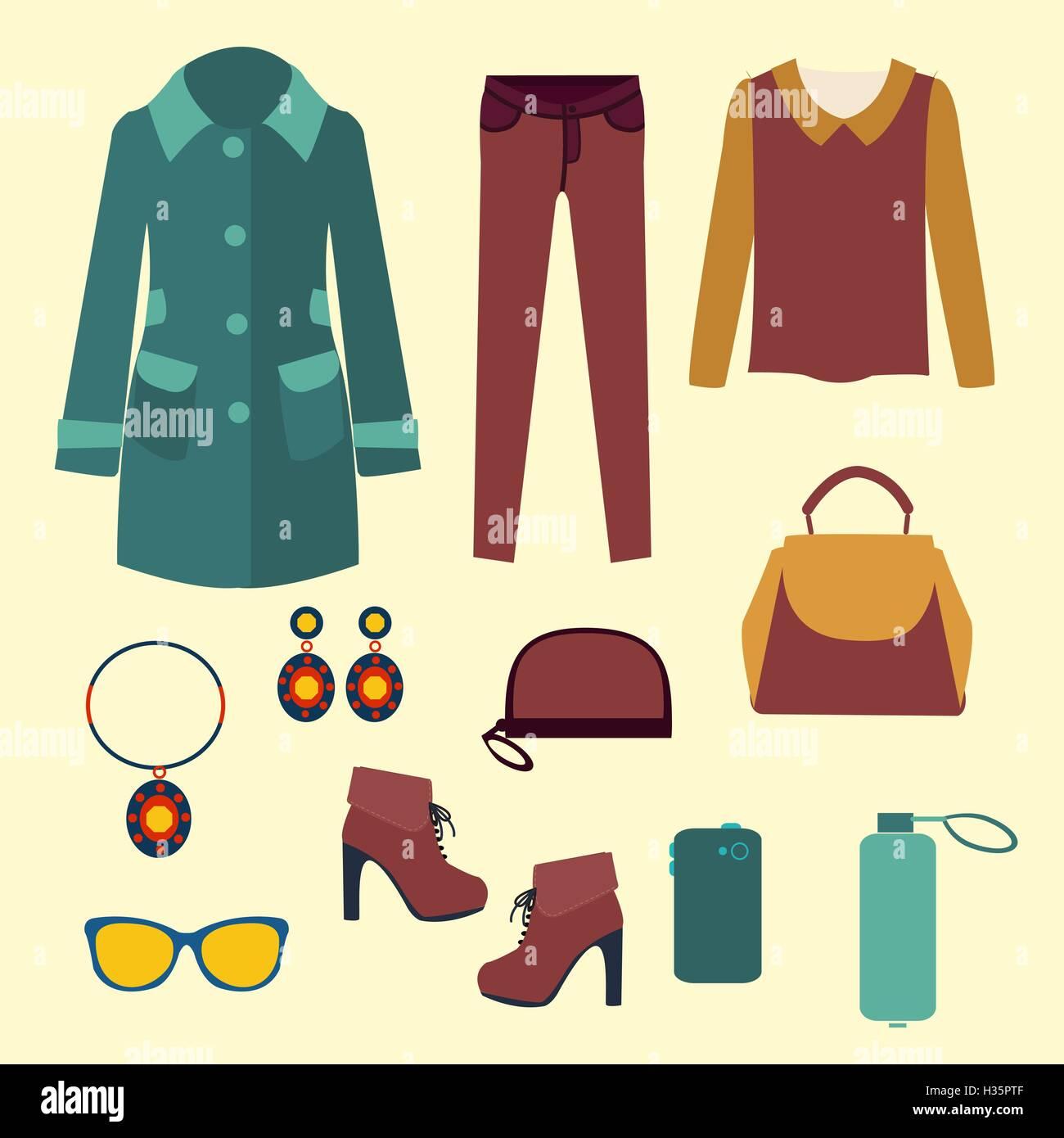 8c77b92938a4 Vettore di vettore di moda abbigliamento e accessori per donna per desi