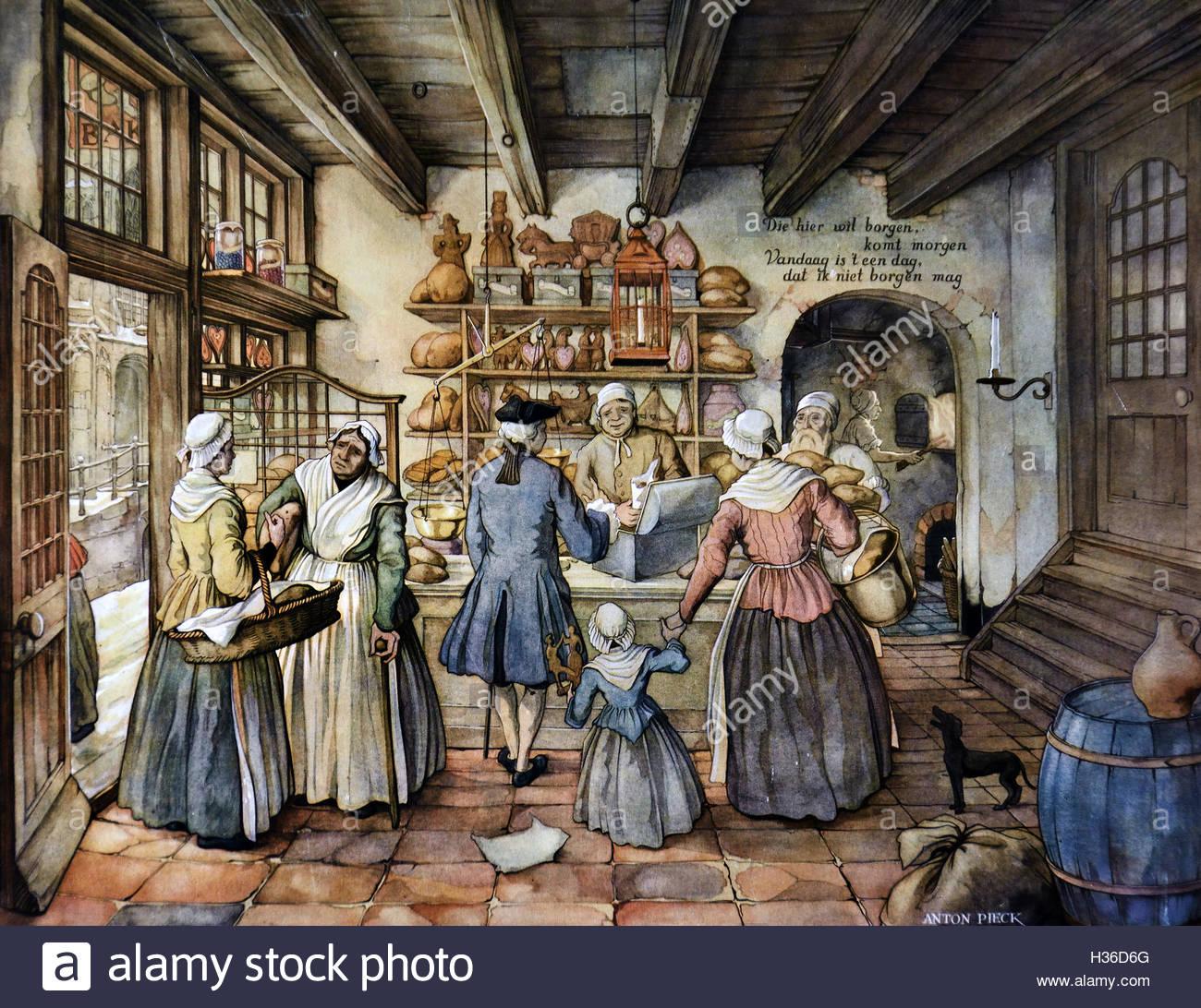 Anton Pieck pittura pane - Panificio Baker. I Paesi Bassi ( Anton Franciscus Piec pittore olandese, artista e artista Immagini Stock