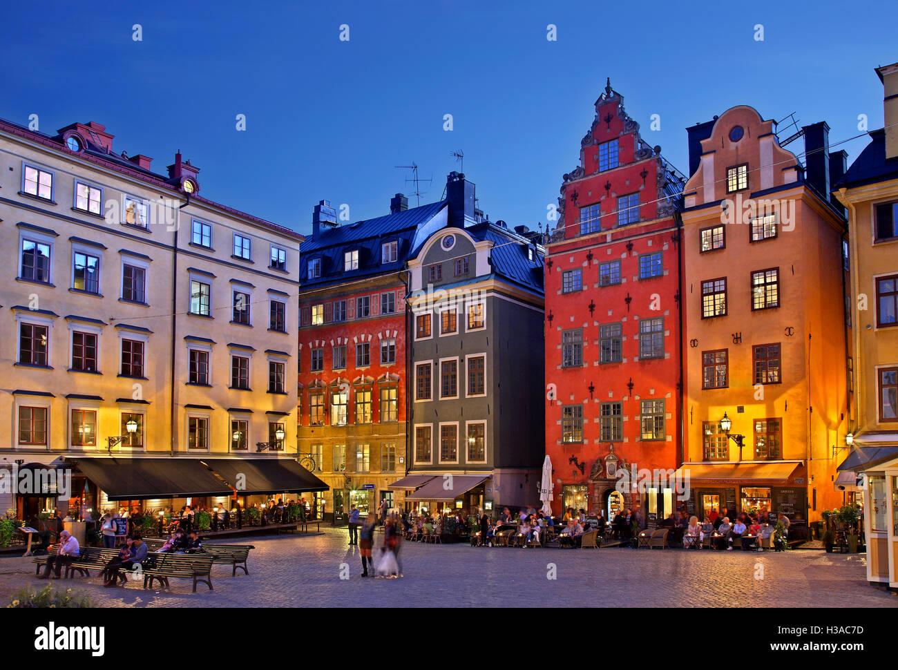Stortorget square a Gamla Stan, la città vecchia di Stoccolma, Svezia. Immagini Stock