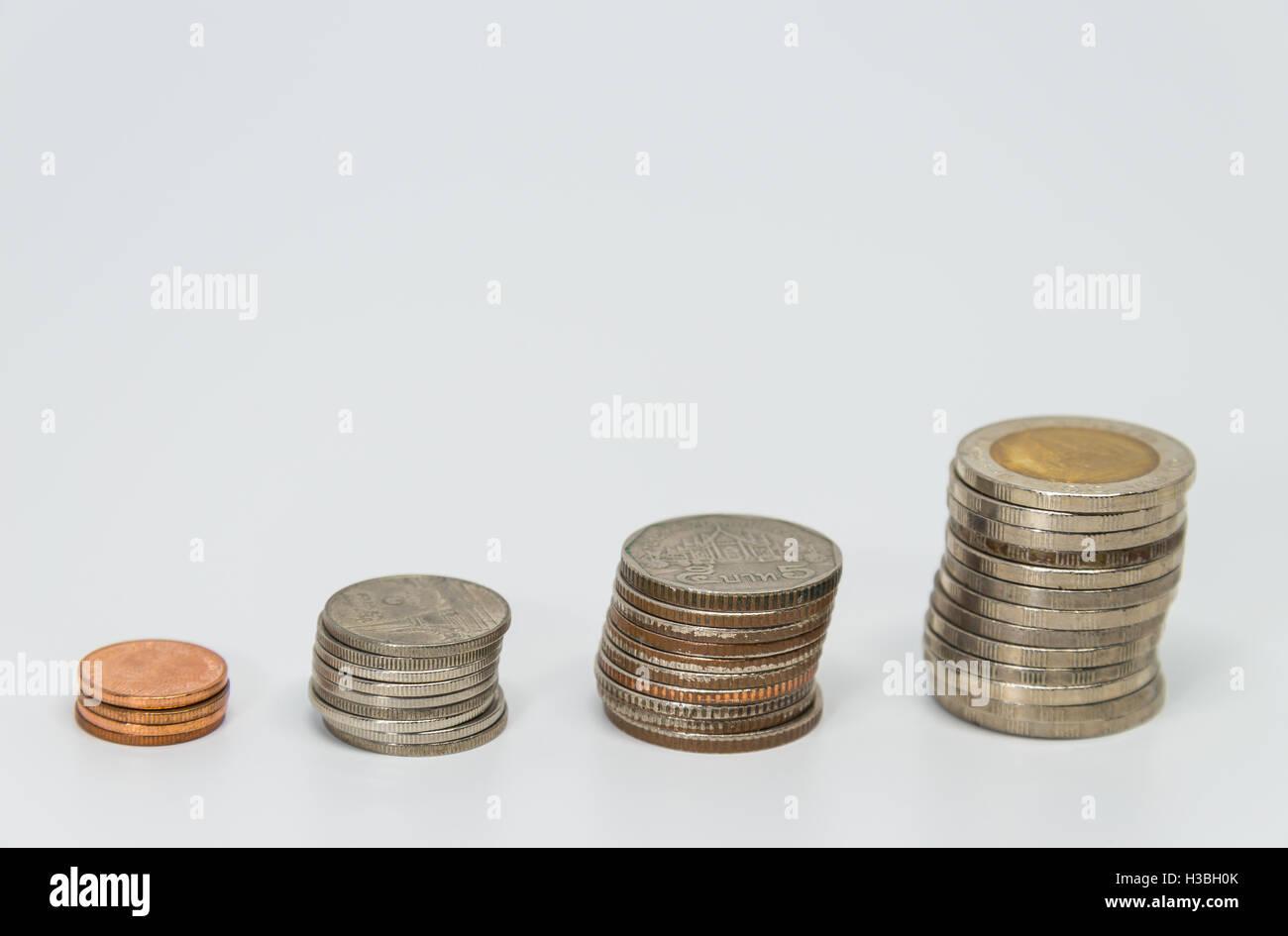 Righe del baht tailandese di monete in euro per il sistema bancario e finanziario concetto con sfondo bianco e messa Immagini Stock