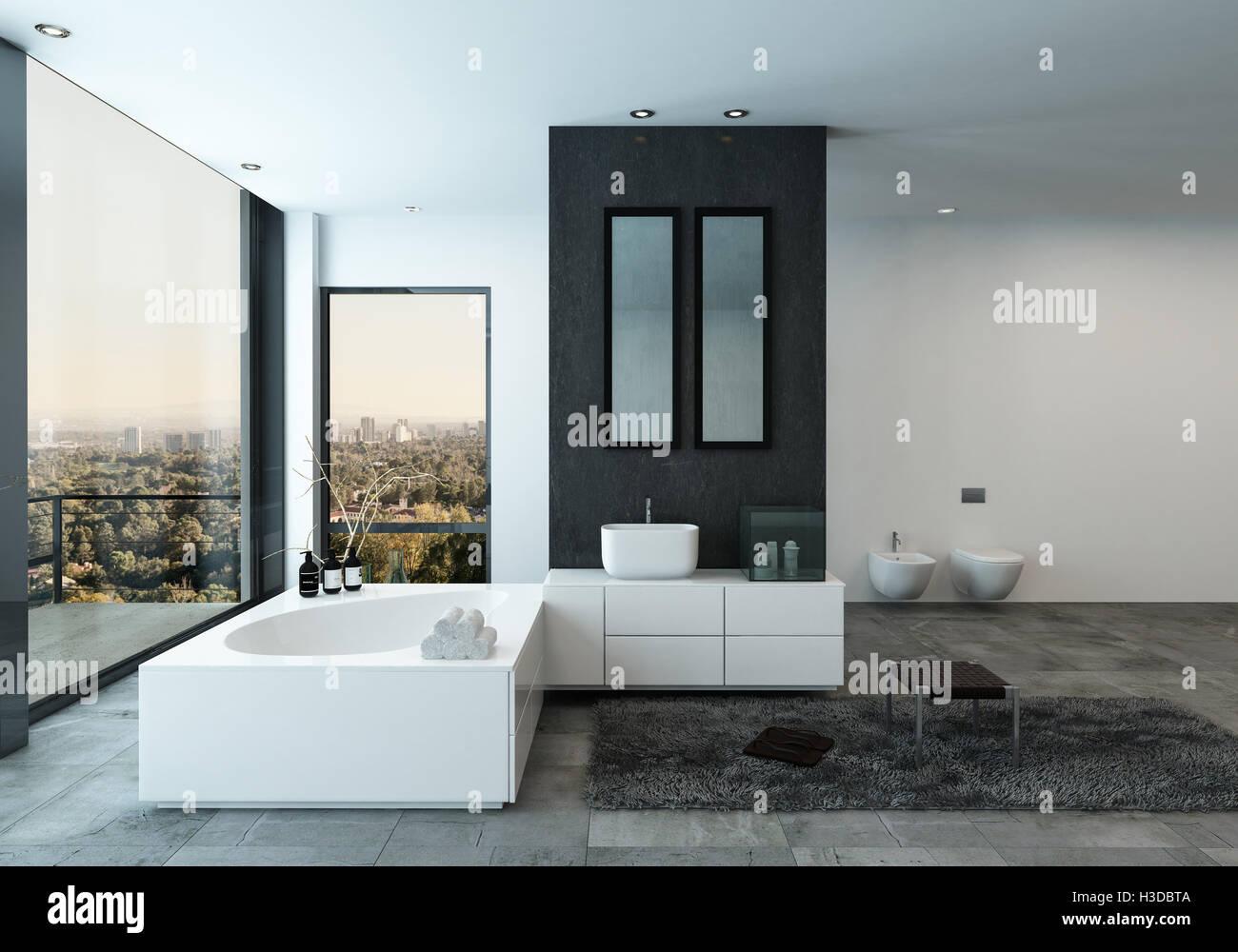 Vasca Da Bagno Vista : Moderno bagno interno con vasca da bagno elegante e vista sulla