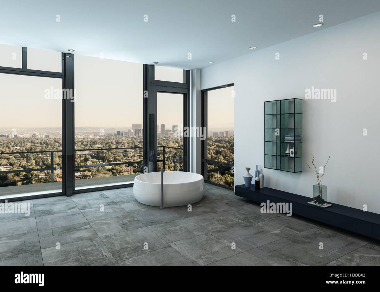 Lusso minimalista bagno interno con una vasca circolare nellangolo