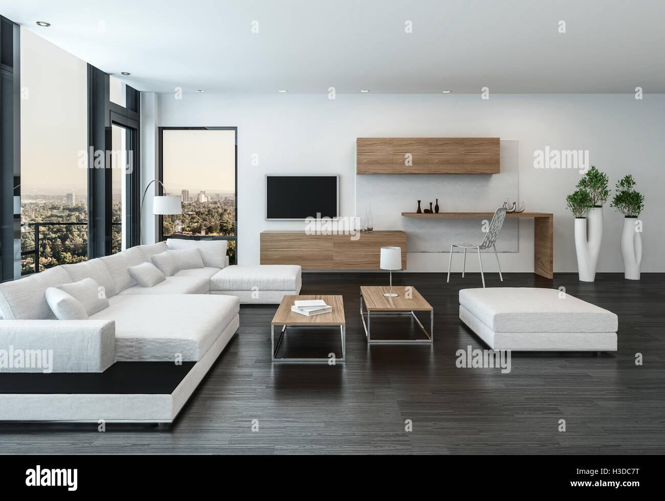 Elegante e moderno di colore bianco salotto interno con for Soggiorno minimalista