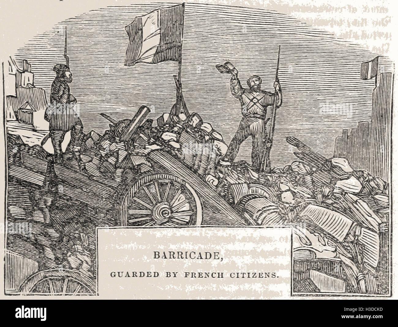 Barricata, custodito da cittadini francesi Immagini Stock