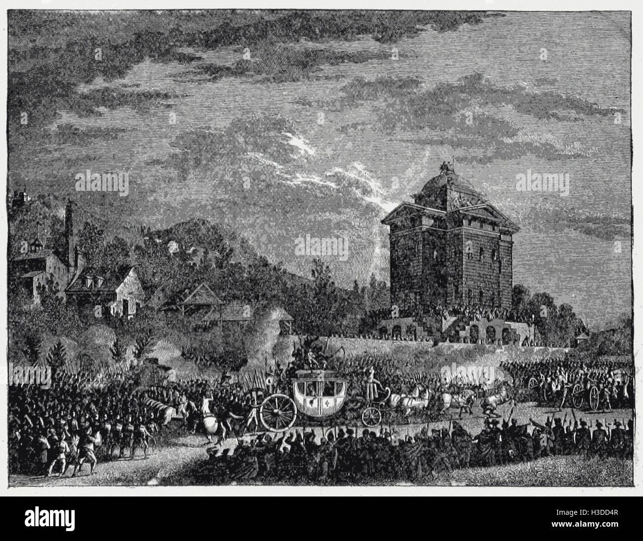 Il ritorno di Luigi XVI. Da VARENNES, Giugno 25, 179I Immagini Stock