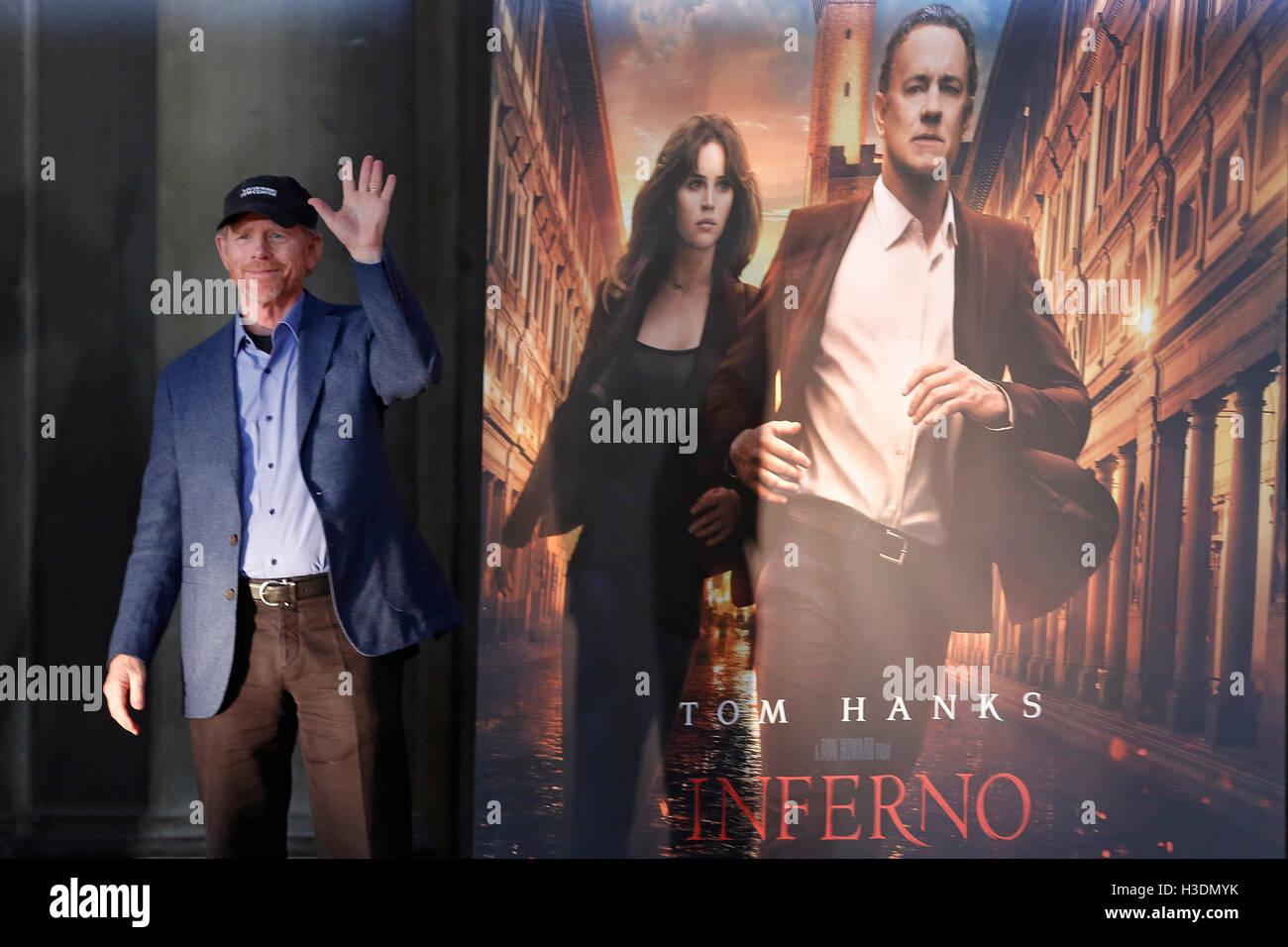 """Firenze, Italia. Il 6 ottobre, 2016. Ron Howard Firenze il 6 ottobre 2016. """"L'Inferno"""" Photocall, Immagini Stock"""