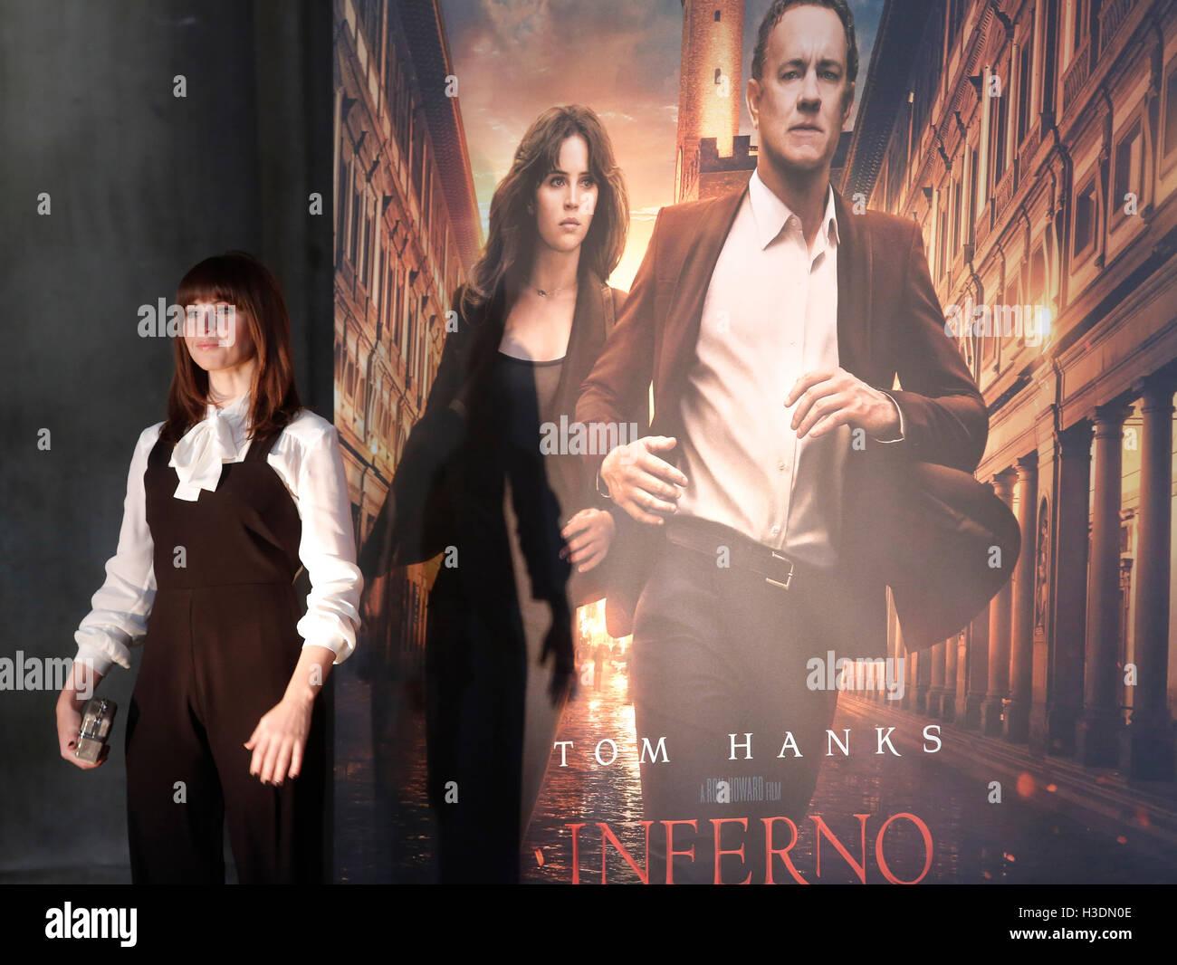 """Firenze, Italia. Il 6 ottobre, 2016. Felicity Jones Firenze il 6 ottobre 2016. """"L'Inferno"""" Photocall, Immagini Stock"""