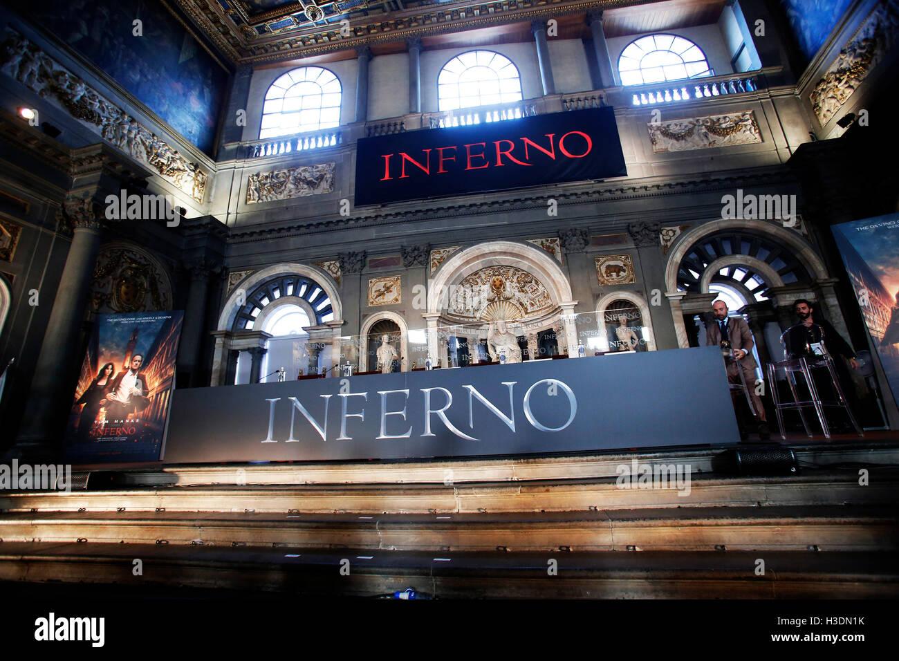 """Firenze, Italia. Il 6 ottobre, 2016. Firenze il 6 ottobre 2016. """"L'Inferno"""" Photocall, Premiere mondiale. Immagini Stock"""